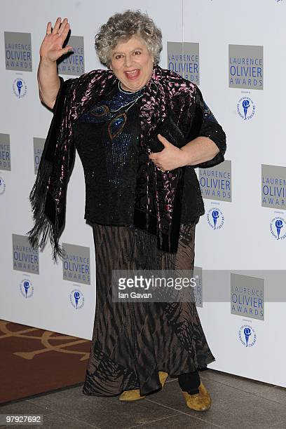 Miriam Margoyles attends the Laurence Olivier Awards at The Grosvenor House Hotel on March 21 2010 in London England