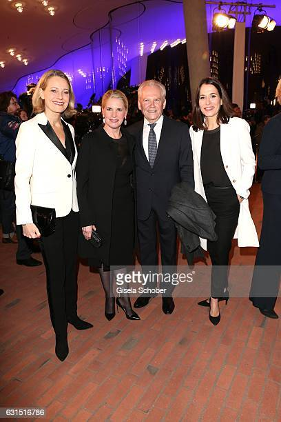 Miriam Meckel Ruediger Grube CEO Die Bahn and his wife Cornelia Poletto and Anne Will during the opening concert of the Elbphilharmonie concert hall...
