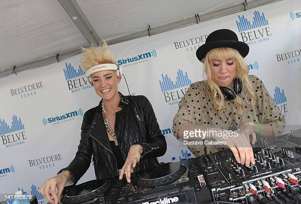 Miriam Nervo and Olivia Nervo of Nervo play SiriusXM's Tiesto's Club Life Radio Channel Launch With Live DJ Set By Tiesto during Miami Music Week At...
