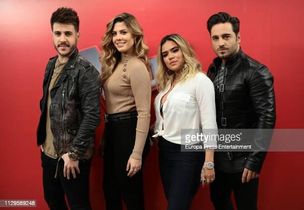 Miriam Rodriguez Antonio Jose David Bustamante and Karol G attend La Voz photocall on February 13 2019 in Madrid Spain