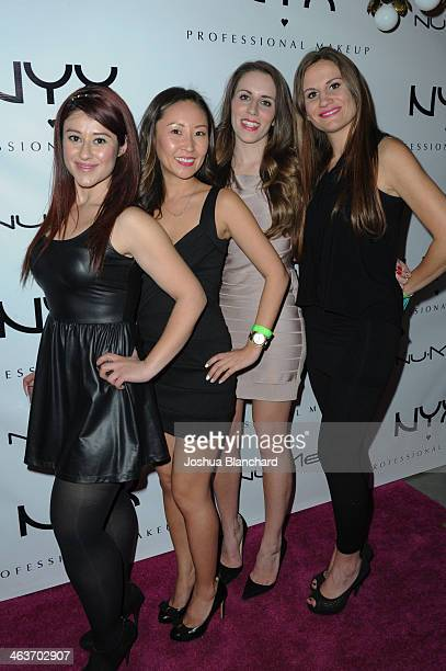 Miriam Rodriguez Katherine Hong Sara Aziz Dawn Telep arrive at the NYX Cosmetics Spring 2014 Launch Event at Regne Haute Blow Dry Salon on January 18...