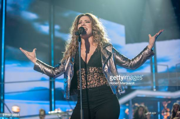 Miriam Rodriguez performs on stage for Operacion Triunfo Eurovision contest on January 29 2018 in Barcelona Spain