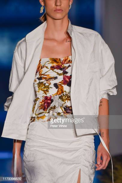 Miriam Sanchez fashion detail walks the runway for the Jason Wu Collection during New York Fashion Week The Shows at Pier 17 on September 08 2019 in...