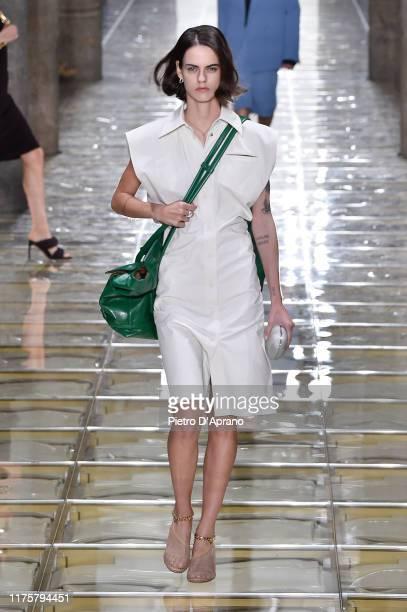 Miriam Sanchez walks the runway at the Bottega Veneta show during the Milan Fashion Week Spring/Summer 2020 on September 19 2019 in Milan Italy