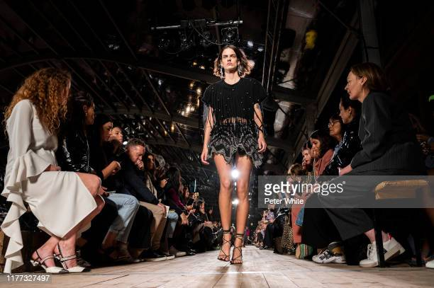 Miriam Sanchez walks the runway during the Isabel Marant Womenswear Spring/Summer 2020 show as part of Paris Fashion Week on September 26 2019 in...
