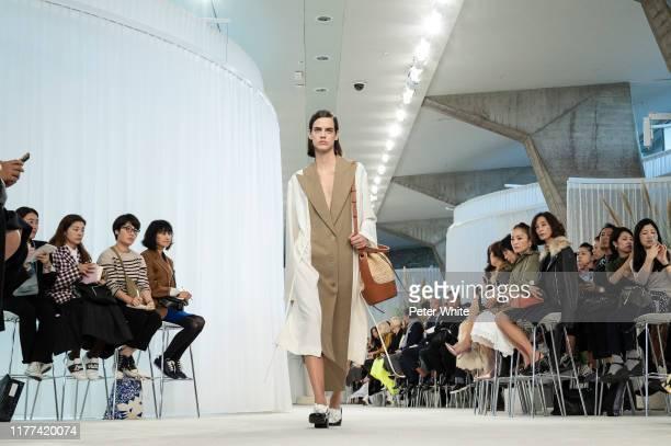 Miriam Sanchez walks the runway during the Loewe Womenswear Spring/Summer 2020 show as part of Paris Fashion Week on September 27 2019 in Paris France