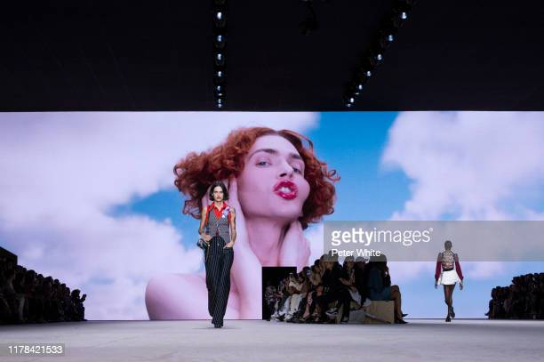 Miriam Sanchez walks the runway during the Louis Vuitton Womenswear Spring/Summer 2020 show as part of Paris Fashion Week on October 01 2019 in Paris...