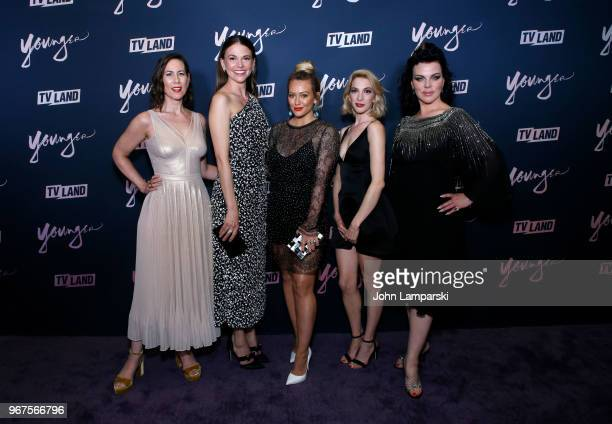 Miriam Shor Sutton Foster Hilary Duff Molly Bernard and Debi Mazar attend 'Younger' season 5 premiere party at Cecconi's Dumbo on June 4 2018 in...