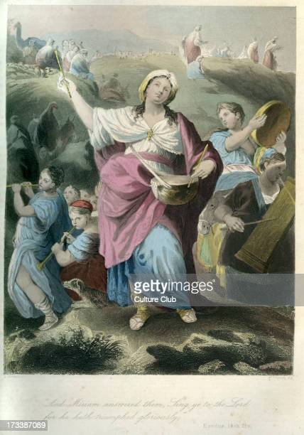 Miriam the prophetess holding a timbrel and dancing after Moses led the Israelites through the Red Sea Caption reads ' And Miriam answered them Sing...