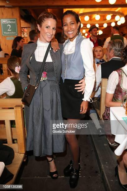 Miriam Tonner and Rabea Schif during the 'Fruehstueck bei Tiffany' at Schuetzenfestzelt at the Oktoberfest on September 22 2018 in Munich Germany