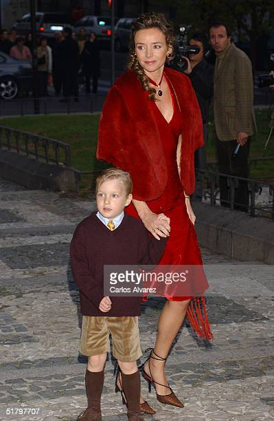 Miriam Ungria the wife of Prince Kardam of Bulgaria attends the wedding of Fernando Gomez Acebo son of King Juan Carlos's sister Dona Pilar and hence...