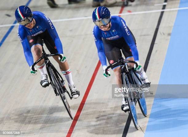 Miriam VeceElena Bssolati of Women`s team sprint compete at The UCI World Cycling Championships in Apeldoorn on February 28 2018