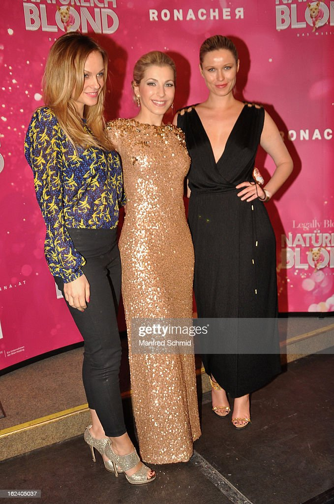 Miriam Weichselbraun, Barbara Obermeier and model Kiera Chaplin attend the after party for the premiere of 'Natuerlich Blond' held at the Rathaus on February 22, 2013 in Vienna, Austria.
