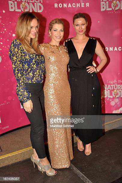Miriam Weichselbraun, Barbara Obermeier and model Kiera Chaplin attend the after party for the premiere of 'Natuerlich Blond' held at the Rathaus on...