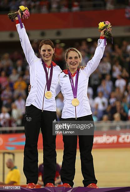 Miriam Welte and Kristina Vogel of Germany celebrate on the podium with their gold medals during the medal ceremony for the Women's Team Sprint Track...