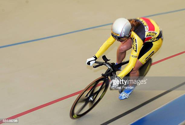 Miriam Welte of RSC 1950 Kaiserlautern in action during the womens 500m time trial at the German Track Racing Championships on August 21 2005 in...