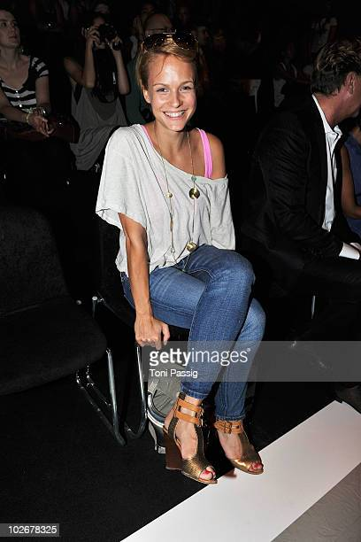 Miriam Wichselbraun poses in the front row at the Christina Duxa Couture Show during the Mercedes Benz Fashion Week Spring/Summer 2011 at Bebelplatz...
