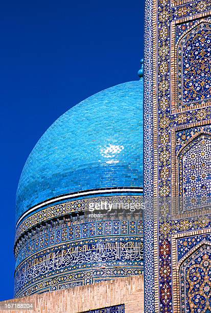mir-i-arab medressa in buchara, dome - oezbekistan stockfoto's en -beelden