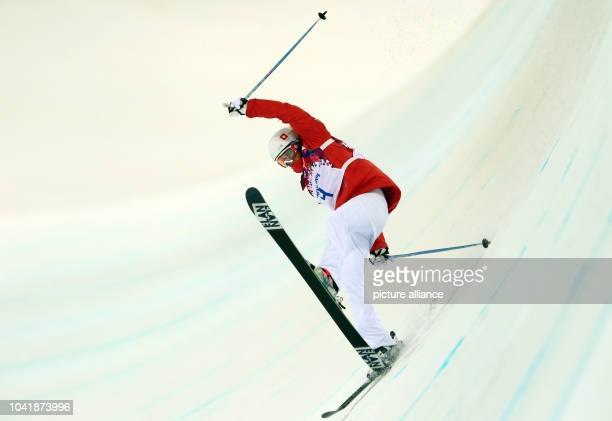 Mirijam Jaeger of Sitzerland crashes during the Women's Freestyle Skiing Halfpipe Final in Rosa Khutor Extreme Park at the Sochi 2014 Olympic Games...