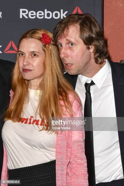 Mirijam Verena Jeremic and Oliver Korittke attend the film preview of 'Der Sportpenner' on June 13 2018 in Berlin Germany