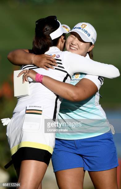 Mirim Lee of Korea hugs Mu Jung Hur of Korea after Lee's 20 under par tournament record during the Final Round of the KIA Classic at the Park Hyatt...