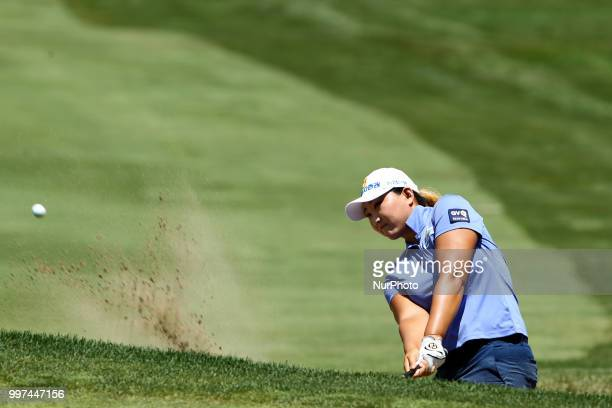 Mirim Lee of Republic of Korea hits from the sand trap toward the 5th green during the first round of the Marathon LPGA Classic golf tournament at...