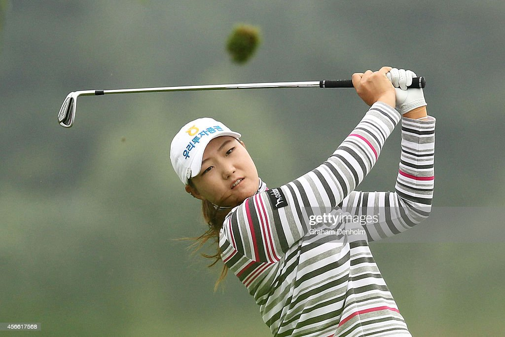Mirim Lee of South Korea hits a tee shot during day three ...