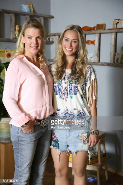 Mirja Boes and Sina Tkotsch pose during the set visit of the new RTL tv sitcom 'Beste Schwestern' on August 1 2017 in Cologne Germany