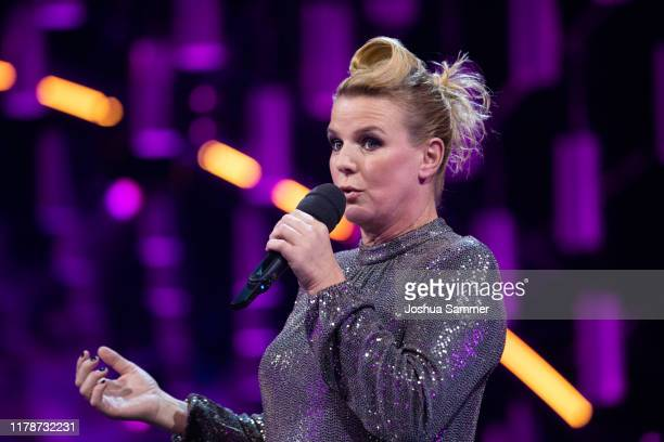 Mirja Boes holds a laudatio during the 23rd annual German Comedy Awards at Studio in Köln Mühlheim on October 02 2019 in Cologne Germany