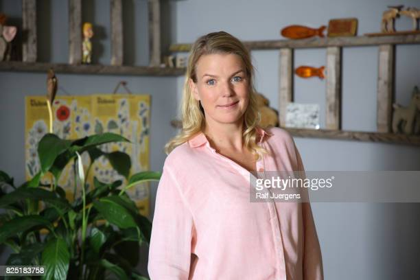 Mirja Boes poses during the set visit of the new RTL tv sitcom 'Beste Schwestern' on August 1 2017 in Cologne Germany