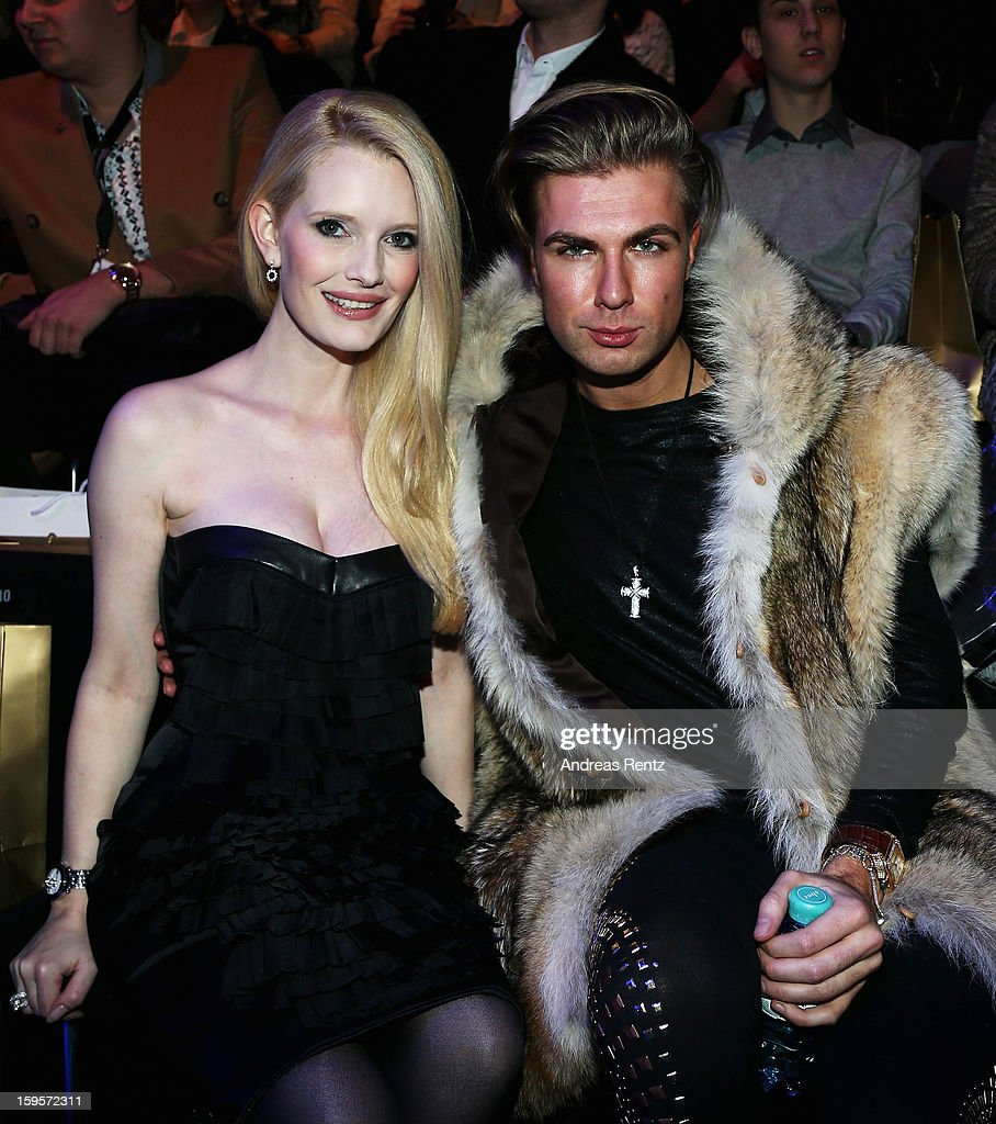Mirja du Mont and Andre Borchers attend Dimitri Autumn/Winter 2013/14 fashion show during Mercedes-Benz Fashion Week Berlin at Brandenburg Gate on January 16, 2013 in Berlin, Germany.