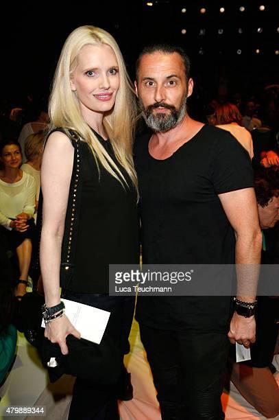 Mirja du Mont and Tobias Bojko attend the Minx by Eva Lutz show during the MercedesBenz Fashion Week Berlin Spring/Summer 2016 at Brandenburg Gate on...
