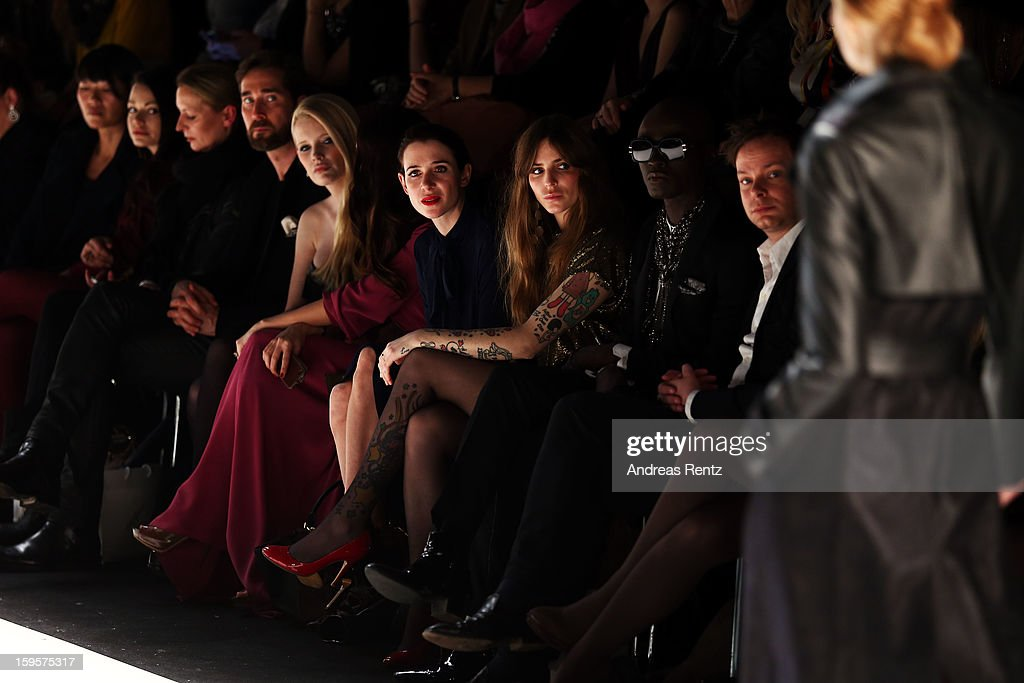 Mirja du Mont, Johanna Klum, Julia Malik, Annina Roescheisen and Papis Loveday attend Holy Ghost Autumn/Winter 2013/14 fashion show during Mercedes-Benz Fashion Week Berlin at Brandenburg Gate on January 16, 2013 in Berlin, Germany.