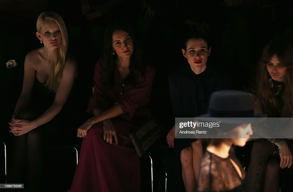 Mirja du Mont, Johanna Klum,Julia Malik and Annina Roescheisen attend Holy Ghost Autumn/Winter 2013/14 fashion show during Mercedes-Benz Fashion Week Berlin at Brandenburg Gate on January 16, 2013 in Berlin, Germany.
