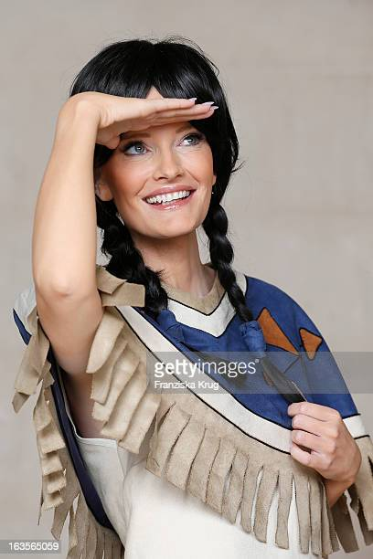 Mirja du Mont poses during the Mirja Du Mont Music Shoot at the Adlon Hotel on March 12 2013 in Berlin Germany