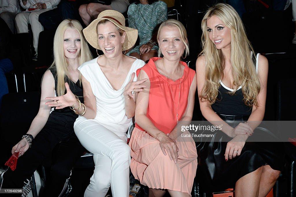 Mirja du Mont, Tina Bordihn, Nova Meierhenrich and Rosanna Davison attend the Minx By Eva Lutz Show during the Mercedes-Benz Fashion Week Spring/Summer 2014 at the Brandenburg Gate on July 3, 2013 in Berlin, Germany.