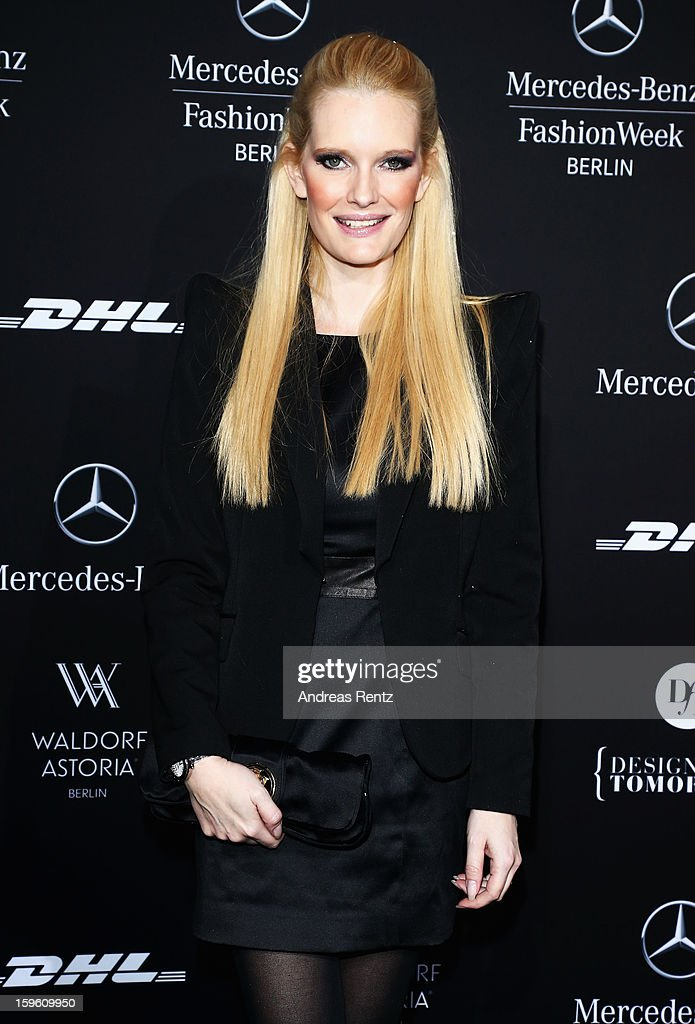 Mirja Dumont attends Marcel Ostertag Autumn/Winter 2013/14 fashion show during Mercedes-Benz Fashion Week Berlin at Brandenburg Gate on January 17, 2013 in Berlin, Germany.