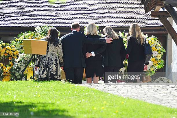 Mirja Larson wife of defunct Gunter Sachs his sons Christian Halifax and mourners attend Gunter Sachs' funeral service held at Mauritiuskirche on May...