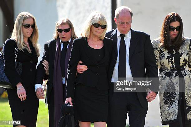 Mirja Larson wife of defunct Gunter Sachs son Halifax and Christian Sachs and mourners attend Gunter Sachs' funeral service held at Mauritiuskirche...