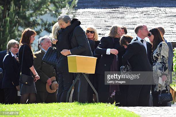 Mirja Larson wife of defunct Gunter Sachs son Halifax Sachs son Christian Sachs and mourners attend Gunter Sachs' funeral service held at...