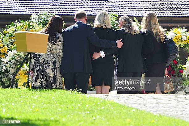 Mirja Larson wife of defunct Gunter Sachs sons Christian and Halifax Sachs and mourners attend Gunter Sachs' funeral service held at Mauritiuskirche...