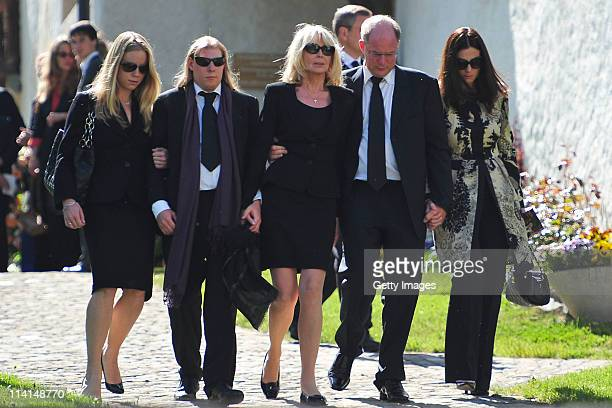 Mirja Larson wife of defunct Gunter Sachs sons Halifax and Christian Sachs and mourners attend Gunter Sachs' funeral service held at Mauritiuskirche...
