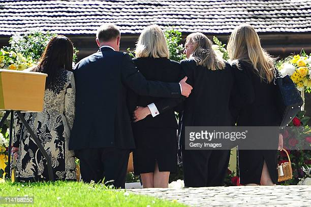 Mirja Larson wife of defunct Gunter Sachs sons Halifax Sach Christian Sachs and mourners attend Gunter Sachs' funeral service held at Mauritiuskirche...