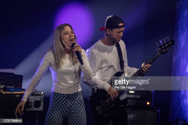 Mirjam Omdal and Jonny Sjo from D'Sound perform on stage at a streaming concert at Sentralen during the coronavirus crisis on April 24 2020 in Oslo...
