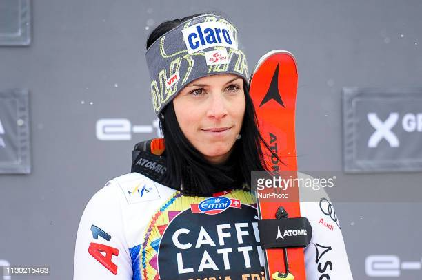 Mirjam Puchner from Austria Ski Team at podium after win the Ladies Downhill Audi FIS Ski World Cup Race on March 13 2019 in El Tarter Andorra