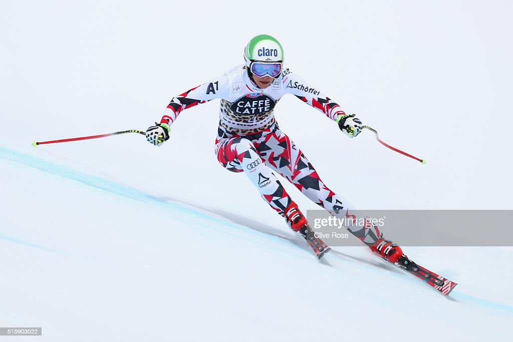 Mirjam Puchner of Austria in action during the Audi FIS Alpine Skiing World Cup Women's Downhill Race on March 16, 2016 in St Moritz, Switzerland.