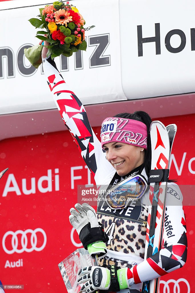 Mirjam Puchner of Austria takes 1st place during the Audi FIS Alpine Ski World Cup Finals Men's and Women's Downhill on March 16, 2016 in St. Moritz, Switzerland.
