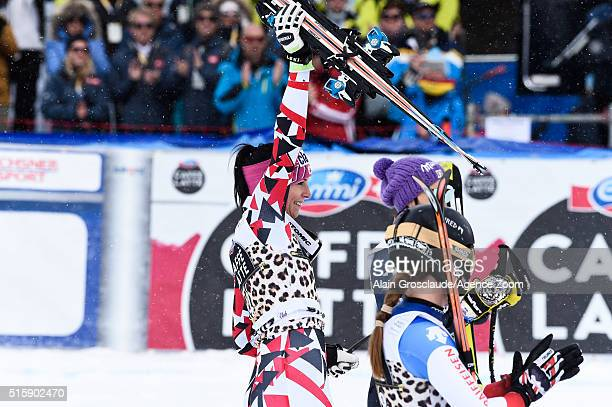 Mirjam Puchner of Austria takes 1st place Fabienne Suter of Switzerland takes 2nd place Elena Curtoni of Italy takes 3rd place during the Audi FIS...