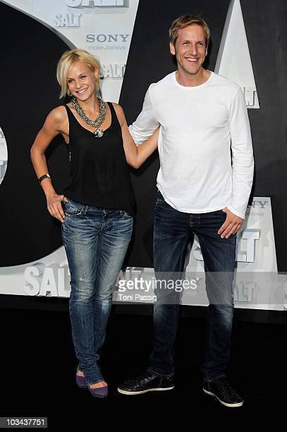 Mirjam Weichselbraun and boyfriend Jan Hahn attend the german premiere of 'Salt' at Cinema Cine Star Potsdamer Platz on August 18, 2010 in Berlin,...