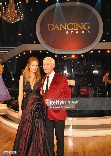 Mirjam Weichselbraun and Klaus Eberhartinger attend the TV Show 'Dancing Stars' at ORF Centeron April 19 2013 in Vienna Austria